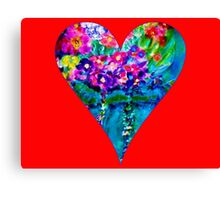 Red Floral Heart Designer Art Gifts Canvas Print