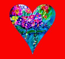 Red Floral Heart Designer Art Gifts by innocentorigina