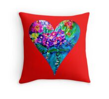 Red Floral Heart Designer Art Gifts Throw Pillow