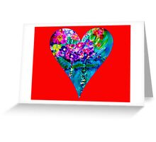 Red Floral Heart Designer Art Gifts Greeting Card