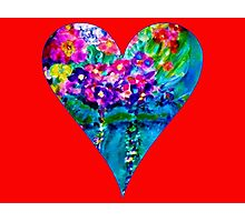 Red Floral Heart Designer Art Gifts Photographic Print