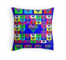 Blue Floral Hearts Designer Art Gifts Throw Pillow