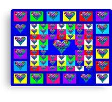 Blue Floral Hearts Designer Art Gifts Canvas Print
