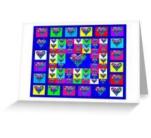 Blue Floral Hearts Designer Art Gifts Greeting Card