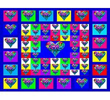 Blue Floral Hearts Designer Art Gifts Photographic Print