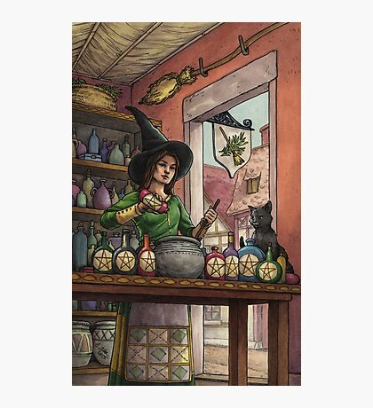 Everyday Witch Tarot - Eight of Pentacles Photographic Print