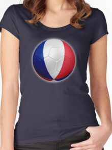 France - French Flag - Football or Soccer 2 Women's Fitted Scoop T-Shirt