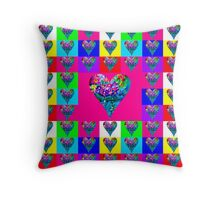 Pink Floral Hearts Designer Art Gifts Throw Pillow