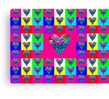 Pink Floral Hearts Designer Art Gifts Canvas Print