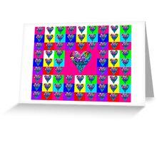 Pink Floral Hearts Designer Art Gifts Greeting Card