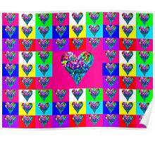 Pink Floral Hearts Designer Art Gifts Poster
