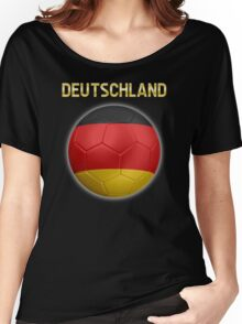 Deutschland - German Flag - Football or Soccer Ball & Text 2 Women's Relaxed Fit T-Shirt