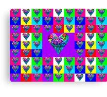 Purple Floral Hearts Designer Art Gifts Canvas Print