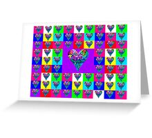 Purple Floral Hearts Designer Art Gifts Greeting Card