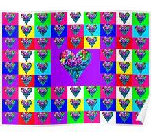 Purple Floral Hearts Designer Art Gifts Poster