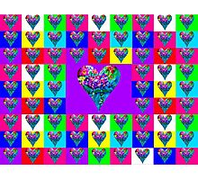 Purple Floral Hearts Designer Art Gifts Photographic Print
