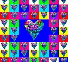 Blue Floral Hearts Designer Art Gift by innocentorigina