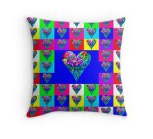 Blue Floral Hearts Designer Art Gift Throw Pillow