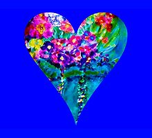 Blue Floral Heart Designer Art Gifts by innocentorigina