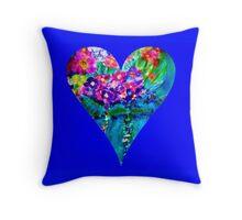 Blue Floral Heart Designer Art Gifts Throw Pillow