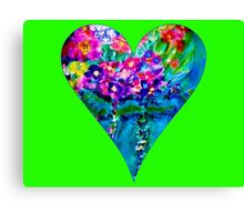 Lime Green Floral Heart Designer Art Gifts Canvas Print