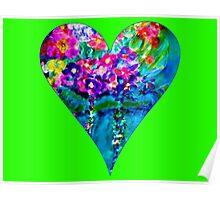 Lime Green Floral Heart Designer Art Gifts Poster