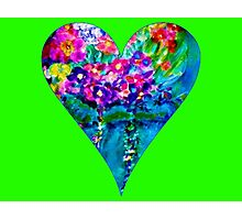 Lime Green Floral Heart Designer Art Gifts Photographic Print