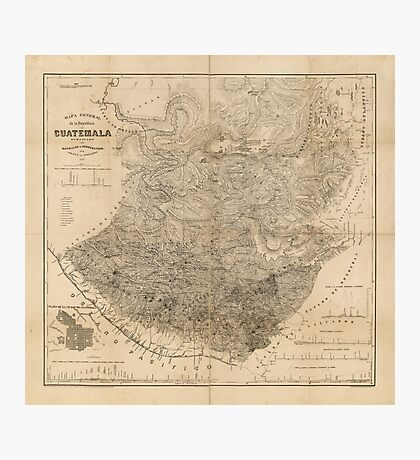 Vintage Map of Guatemala (1859) Photographic Print