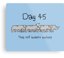 Day 45. They still suspect nothing. (Unicorn + Rhinos) Metal Print