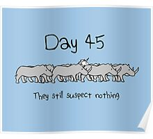 Day 45. They still suspect nothing. (Unicorn + Rhinos) Poster