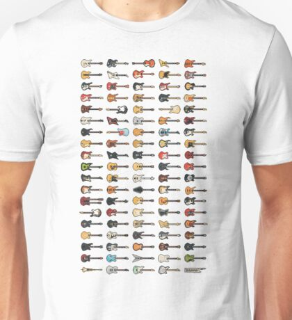 95 Pixel Guitars and Basses and a Keyboard Unisex T-Shirt