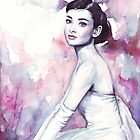 Audrey Hepburn Watercolor Fashion Portrait by OlechkaDesign