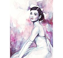 Audrey Hepburn Watercolor Fashion Portrait Photographic Print
