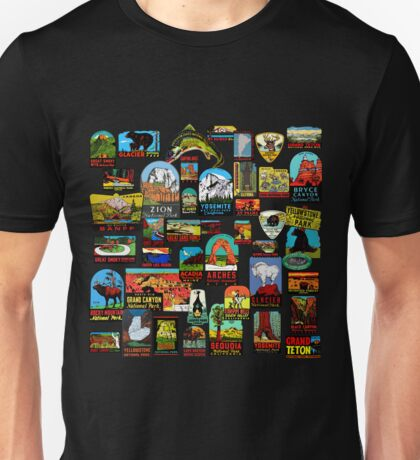 National Parks Vintage Travel Decal Bomb Unisex T-Shirt