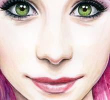 Beautiful Girl with Magenta Hair Sticker