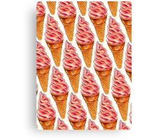 Strawberry Soft Serve Pattern Canvas Print