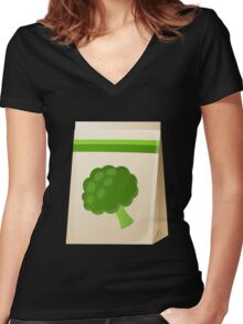 Glitch Seeds seed broccoli Women's Fitted V-Neck T-Shirt