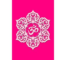 Pink Lotus Flower Yoga Om Photographic Print