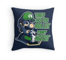 Luigi MK8 - Ridin' Dirty Throw Pillow