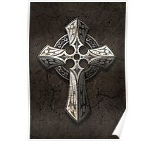 Rough Stone Gothic Cross with Tribal Inlays  Poster