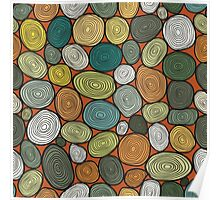 Seamless circles hand-drawn pattern, circles background. Poster