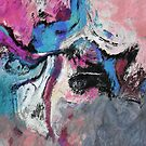 Blue and Pink Abstract Art by Deniz Akerman