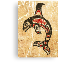 Red and Black Haida Spirit Killer Whale Canvas Print