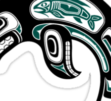 Teal Blue and Black Haida Spirit Killer Whale Sticker