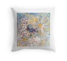 Bluebirds in the Snow White by Designer Marie-Jose Pappas Throw Pillow