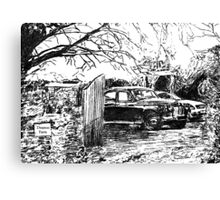Vintage Car In Drive Canvas Print