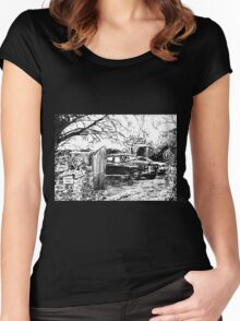 Vintage Car In Drive Women's Fitted Scoop T-Shirt