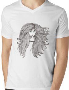 Girl with long beautiful hair Mens V-Neck T-Shirt