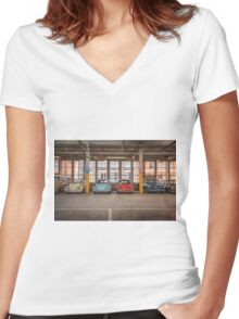 VW Beetle Bus Camper Classics Women's Fitted V-Neck T-Shirt