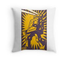 Purple Robot Throw Pillow